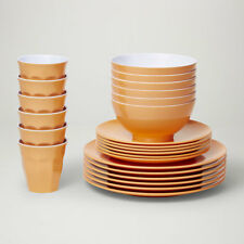 Barel Designs Classic Apricot Melamine 48 Piece Dinner Set - Cups, Bowls, Plates