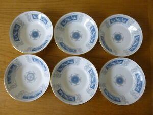 "6 Coalport Blue Revelry 5"" Fruit Saucers or Bowls - Cherub Design"