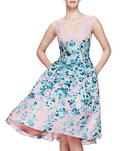 New LELA ROSE Jacquard Floral Nude Blush Green Metallic V Neck Dress 4 6 8 10