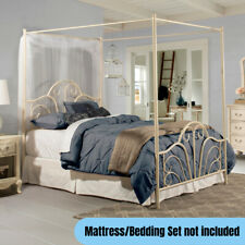 Traditional Full Size Metal Canopy Bed Frame w/ Headboard Footboard Cream Finish
