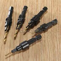 "5Pcs Quick Change HSS Countersink Drill Bit Set 1/4"" Hex Shank Woodworking Screw"