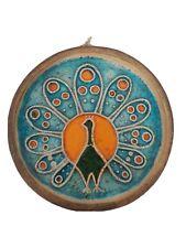 Alter Wandteller 'Pfau', 60er Jahre Keramik, Mid Century, ø31cm