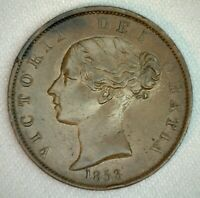 1853 Great Britain 1/2 Penny Coin Half Penny Copper Extra Fine