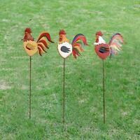 Rooster Decor Set of 3 Metal Garden Stake Yard Decor French Country Rustic Decor