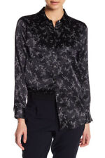 EQUIPMENT Slim Signature Silk Blouse - True Black Bright White Floral Print - XS