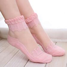 NEW Womens Ankle Socks Elastic Ultrathin Transparent Beautiful Crystal Lace Sock