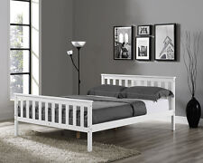Wooden Bed Frame White Double King Single Size Solid Pine and with Mattress New
