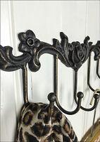 Vintage Style Rose Wall Hooks Home Coat Storage Cast Iron Antique Shabby Chic