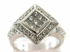 1.38 CT Natural princess & round cut diamond ring VS1/G solid 18K white gold