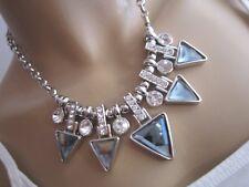 Strass Damen Collier Damen Hals Kette kurz Modekette Kristall Silber Bling k98