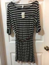 Forever 21 New With Tags Stripped Dress With Belt Navy And White Brown