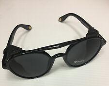 Sunglasses Vintage Side Shields Leather Round Retro Shades