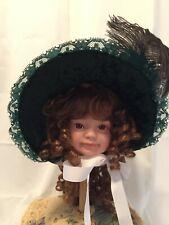 Victorian Repro Girls Bonnet Dk Green Costume, Reenactment, Halloween, Dress Up