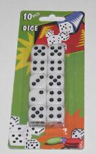 Lot Set de 10 dés à Jouer Blancs 15X15 mm EUF