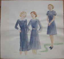 Original Art/Hand-Painted Fashion/Clothing Painting: 1934, 1936, 1940 - 11