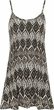 Plus Womens Aztec Print Sleeveless Flared Swing Vest Ladies Strappy Top 12-30