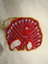 RED PEACOCK SHAPED WALL HANGING OR CHRISTMAS TREE DECORATION HANDMADE IN INDIA