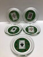 Vintage Luminarc France Poker Barware Playing Cards Glass Coasters Set Of 5