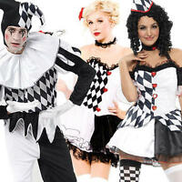 Harlequin Jester Clown Circus Costume Halloween Medieval Adult Fancy Dress + Hat