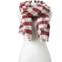GAP Women's Cozy Checkered Scarf One Size Red White Fringe NWT