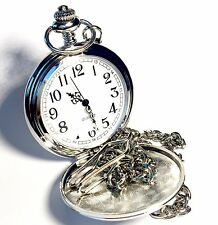 Genuine Wedgwood Cameo On Brightly Polished Stainless Steel Pocket Watch