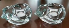 Set of 2 Indiana Glass Cats Candle Holder Crystal Clear Snuggly Sleeping Kittens