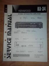 Kenwood Service Manual~KA-34 Amplifier/Amp~Original Repair Manual