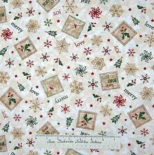 Christmas Fabric - Calico Tree Holly Snowflake Cream - Timeless Treasures /Yd