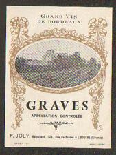 """ETIQUETTE ANCIENNE de VIN / GRAVES """"F. JOLY Négociant"""" à LIBOURNE (33)"""