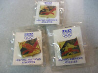 Mint Lot of 3 1992 Albertville,Canada Olympic Games USA Pins Ice Hockey,Luge..