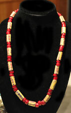 Antique Venetian Yellow Milifiori and Large Red White Heart Trade Bead Necklace