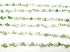 3 MM NATURAL FACETED CHRYSOPRASE HAND MADE SILVER PLATED GEM STONE LINK CHAIN 21