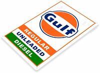 Gulf Gasoline Motor Oil Pump Auto Mechanic Station Shop Rustic Retro Metal Sign