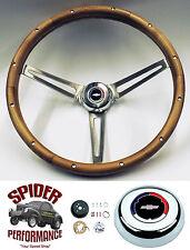 """1966 Chevelle EL Camino Malibu steering wheel CLASSIC BOWTIE WALNUT 15"""" Grant"""