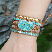Handmade Gold Copper Blue Turquoise Stone Matte Beads Wrap Leather Cuff Bracelet