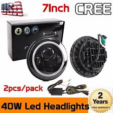 "2x 7"" Inch Round 40W LED Halo Angel Eyes Headlight Lamp For Jeep Wrangler Hummer"