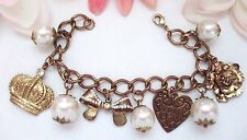 Lovely Charm Bracelet W/Crown, Bow, Flower, Heart & Faux Pearl Charms