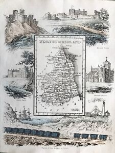 1845 Antique map - Northumberland - from Reuben Ramble's. Scarce