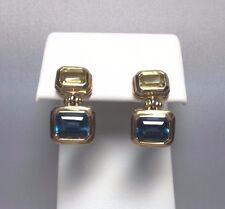 Antiguo Oferta 14kt Oro Amarillo Original Azul y Topacio Cierre Parte Posterior