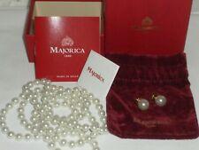 Majorica Ana Mari Pearls Stud Earrings & String Necklace 28 cm long