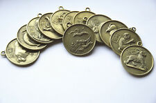 12PCS/set 2.5cm Chinese Feng Shui Brass Zodiac Lucky Coins Collection Gift