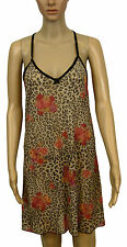 NEW! Midnite Romance Black Floral Rose Satin Chemise Thong Set Size 12 14 16 18