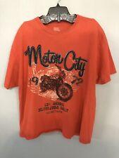Motor City 1st Annual Motorcycle Rally 1972 Detroit Mich T-Shirt Orange XL EUC