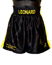 *New* Sugar Ray Leonard Signed Black Custom Made Replica Boxing Trunks