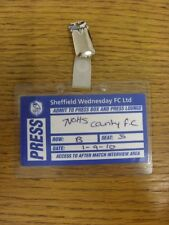 01/09/2010 BIGLIETTO: Sheffield Wednesday V Notts County [JOHNSTONES vernici Trophy]