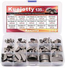 135pcs Woodruff Keys Half Moon Set Semicircle Bond Key Hardware Assortment Kit