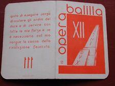 Original Fascist Card Tessera P.N.F. Opera Nazionale Balilla O.N.B. 1934 - Terni