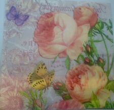 Paper Napkins Serviettes Roses Butterfly Garden Party Romantic 3 Ply Pack Of 20