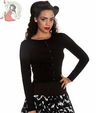 HELL BUNNY 50's PALOMA rockabilly CARDIGAN PLAIN BLACK