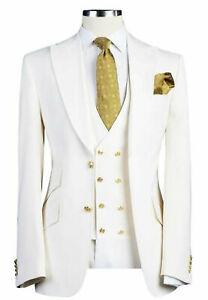 Men White Designer Gold Button Wedding Grooms Dinner Suit (Coat+Vest+Pants)